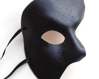 Black Patterned Leather Phantom of the Opera Masquerade Mask