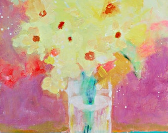 "Abstract Floral Painting, Yellow Flowers, Vase of Daffodils, Modern Still Life ""Sunshine from the Garden"" 12x12"""