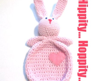 Baby girls first Easter bunny lovey.  Ready to ship pink baby bunny lovey stuffed animal.  Newborn girl photo prop baby shower gift.