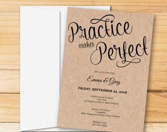 Rehearsal Dinner Invitation | Practice Makes Perfect | Instant DOWNLOAD, Printable, Editable in Word | MAC or PC | Editable Artwork Colors