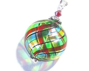 Murano Glass Colorful Blown Glass Pendant, Italian Jewellery, Venetian Mouth Blown Glass