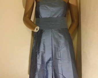 Vintage 80s  Ann taylor periwinkle strapless dress 100% duponi silk