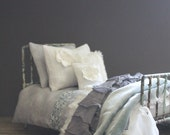 Bed linens for Dolls. Grey/White Collection.