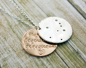 Taurus zodiac constellation necklace with traits. Silver and gold Taurus astrology necklace. Taurus constellation. Taurus birthday gift. RTS