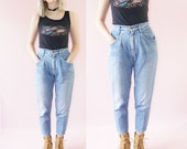 High-Waisted 90s Grunge Jeans, Pleated Light Wash Jeans, 90s Vintage, Women's Size 8