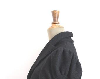 ORLANDO// Vintage Short Jacket // Black wool Jacket // Puffed sleeves