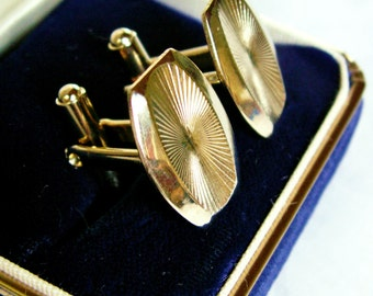 Vintage Gold Tone Art Deco Style Cuff Links Groom Gift Fathers Day Mad Men Don Draper Mens Accessories