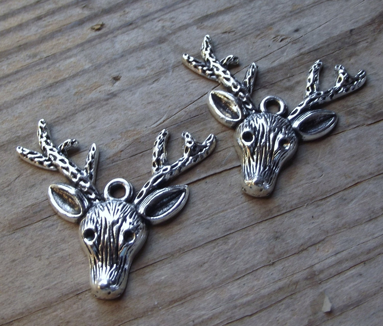 2 silver tone deer charms jewelry supply findings