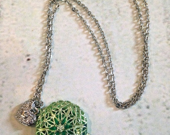 Diffuser Necklace - for use with Essential Oils - Round Green Filigree Locket with heart Charm