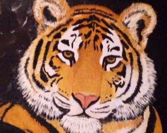 Framed Tiger Painting Origional Hand Painted Oil Paints on Cancas