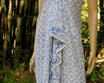 Blue Batik Sarong, Swimsuit cover up, Beach Sarong, Pareo
