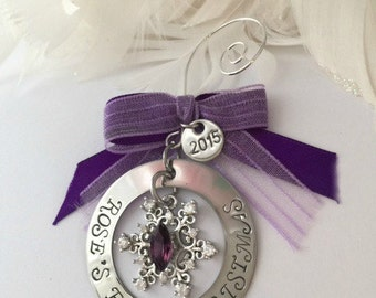 Baby's first Christmas 2017 Personalized Hand Stamped Sterling Silver Jeweled Snowflake with stone and ribbon Christmas Holiday Ornament