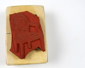 Victorian Parlor Chair Rubber Stamp Wood Back Unused Vintage Hand Stamp, Arm Chair Stamp
