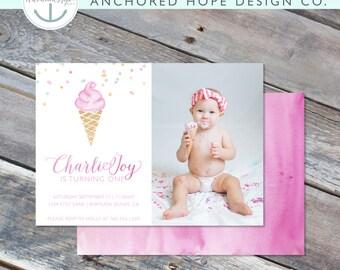 Ice Cream Birthday Invitation- 5x7 - Watercolor - Photo - Modern - Confetti - Printable File - Cardstock