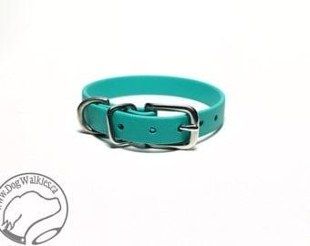 "Teal Little Dog Collar - 1/2"" (12mm) Thin Beta Biothane Dog Collars - Waterproof Small Dog Collar"