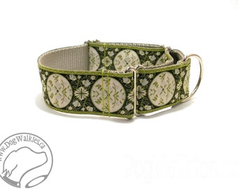 "Green Medalion Vines Wide Dog Collar - 1.5"" (38mm) Wide - Martingale or Quick Release - Choice of collar style and size"