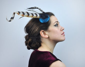 Feather Fascinator in Teal Satin With Gold and Blackr Natural Pheasant Feathers