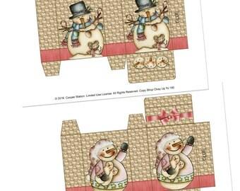 Digital Printable Soap Box - Set of Two - Gift Box - Primitive Snowman - Primitive Snowgirl- Treat Box