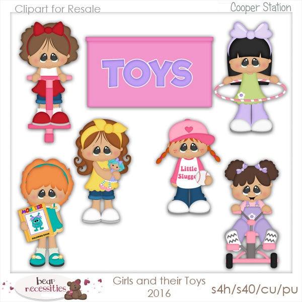 Girl Toys Clip Art : Digital clipart girls toys clip art kristi