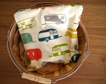 Retro Camper and Bear Large Reusable Snack Bag, Sandwich Sack