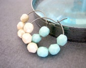 Beaded Hoop Earrings : Blue and Cream White