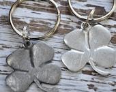 set of two Irish good luck charm keychain, lucky four leaf clover keychain, talisman, Irish symbol,Irish key ring,St Patricks Day,good luck