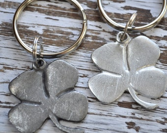 set of two Irish good luck charm keychain, lucky four leaf clover keychain, talisman, Irish symbol,Irish key ring,St Patricks Day,good luck