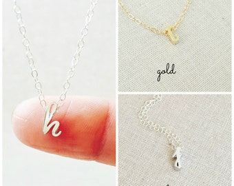Cursive Initial Necklace In Silver, Cursive Letter Necklace, Script Initial Necklace, Personalized Jewelry, Gift for Her, Bridesmaids Gift