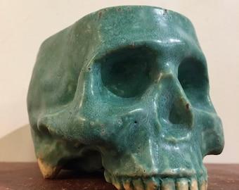 Ceramic Stoneware Skull Mug by Tony Furtado Rusty Green