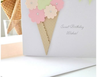BIRTHDAY GREETING CARD: Blooms and Ice Cream Cone