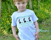 Easter Bunny applique shirt, boy easter smock shirt, boy easter shirt, eatser baby shirt, boy easter outfit, blue green bunny shirt 6m-8