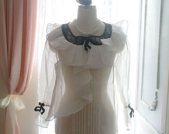 1920's Style Downton Abbey Victorian Ruffles White Organza Blosue Top Black Lace Collar Bell Bow Long Sleeves Great Gatsby