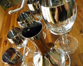1960's Silver Ombre/Silver Fade Wine Set for 6--Carafe and 6 Matching Stemmed Wine Glasses in Caddy--100% Original Set--Fantastic Condition