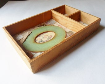 Memories of Children Shadowbox, Three Sectioned Wooden Drawer Shadowbox Display