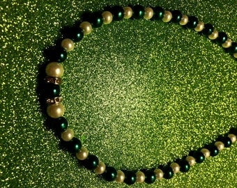 Emerald Green Pearl and White Pearl and Sparkle Rhinestone Rondelle bead Necklace-Gifts for her-Ladies Jewellery-Gifts-Handmade Necklace