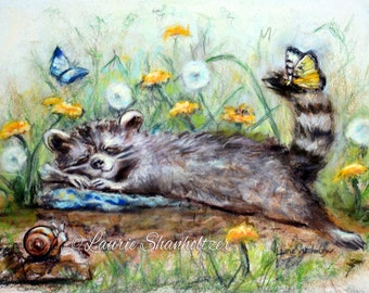 "Raccoon - ORIGINAL pastel painting - nursery, baby cute wildlife, sleepy animal,  ""Snoozing On A Lazy Afternoon""  Laurie Shanholtzer"