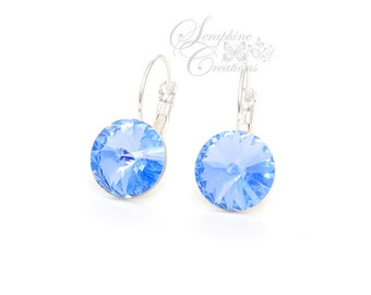 Light Blue Earrings Swarovski Crystal Earrings Light Sapphire Rivoli Leverback Wedding Bridesmaid Gifts Bridesmaid Something Blue K011