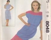 Simple Bateau Dress Pattern McCalls 8048 Size Small 10/12
