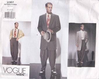 40s Style Zoot Suit Pattern Vogue 2367 Sizes 38 40 42 Uncut