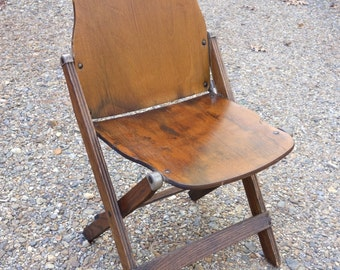 1940's Army Wooden Folding Chair Vintage Industrial Office American Seating Co