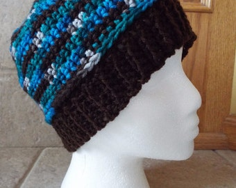Crochet Beanie, Hat, Beanie, ribbed brim, brim hat, band hat, unisex, variegated, brown, blue, green, teal