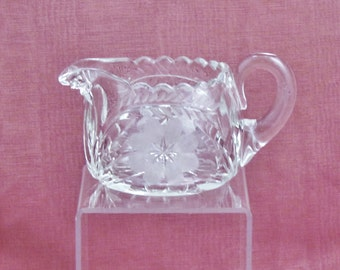 Antique cut and engraved glass creamer, c.1910's cut glass creamer with engraved flowers