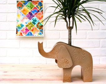 Elephant Planter - Stoneware Indoor or Outdoor Planter, Handmade from Scratch!  Extra Large Planter - Indoor Gardening - Jungalow Style