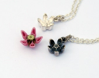 Milkweed Asclepias necklace - silver milkweed pendant necklace monarch jewelry