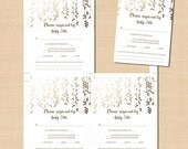 Gold Foil-Inspired Leafy Vines Wedding RSVP/Response Card Template (3.5x5, Portrait): Text-Editable in Word, Printable Instant Download