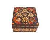 Vintage Russian Wood Box USSR Trinket Box Soviet Union Jewelry Box Straw Inlay Straw Marquetry Folk Art Hinged Lacquered Box