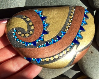 Undertow / painted rocks / painted stones / copper and gold / home decor / beach decor / rock art / rocks / sea stones / art on stone