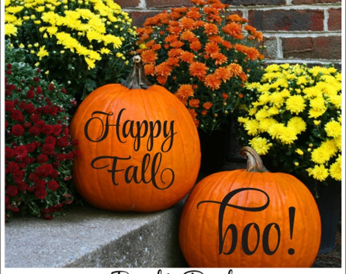 Pumpkin Decals Happy Fall Decal Boo Decal Vinyl Decals Halloween Decor Fall Decor Front Porch Decor Curb Appeal Holiday Decals Pumpkin Decal