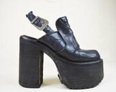RESERVED 90s Grunge Boho Black Leather Buffalo Western Embroidered Wooden Heel Slingback Mega Platform Sandals Shoes Uk 3.5 / Us 6 / Eu 36.5