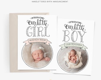 Birth Announcement Template - Photographer Template - Hand Lettered - Photoshop Template - Photography - Millers - WHCC - 7x5 Sku BA1011